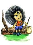 L'istrice premuroso si siede su un ceppo Illustrazione Vettoriale