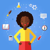 L'istruzione e la scienza vector il fondo con la ragazza afroamericana Progettazione piana moderna Immagini Stock