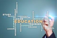L'istruzione esprime la nuvola sullo schermo virtuale Fotografia Stock