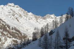 L'Italia, Cervinia, montagne innevate Fotografia Stock