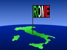 L'Italia con la bandierina di Roma illustrazione vettoriale