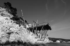 L'Italia: la casa del pescatore. Trabucco Fotografia Stock
