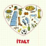 L'Italia Pen Drawn Doodles Vector Collection Fotografie Stock Libere da Diritti