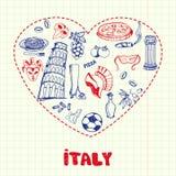 L'Italia Pen Drawn Doodles Vector Collection Fotografia Stock Libera da Diritti
