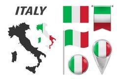 L'Italia Raccolta dei simboli a colori la bandiera nazionale sui vari oggetti isolati su fondo bianco Bandiera, puntatore, botton royalty illustrazione gratis