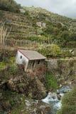 L'Italia rurale - casa inclinata abbandonata in Vernazza, Cinque Terre immagine stock