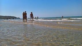 L'Italia Sicilly, Agrigento, Sciacca, agosto, quindicesimo, 2016 Spiaggia di Maragani, immagine stock libera da diritti