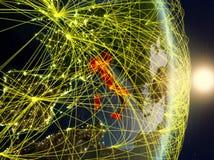 L'Italia su pianeta Terra di reti immagini stock libere da diritti