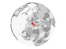 L'Italia sul globo grigio isolato Fotografie Stock Libere da Diritti