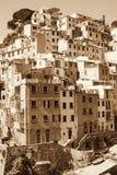 L'Italia Terre di Cinque Villaggio di Riomaggiore Nella seppia tonificata retro Immagini Stock