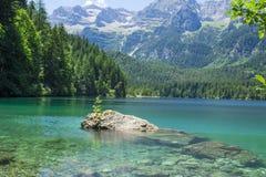 L'Italie, Alto Adige : Réflexion dans le lac Tovel Photographie stock libre de droits