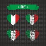 L'Italie avec amour Le coeur brisé de vecteur de conception avec le drapeau à l'intérieur illustration de vecteur