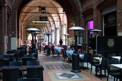 L'Italie, Bologna, restaurant du centre Photographie stock