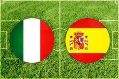 l'Italie contre l'Espagne Image stock