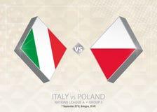 L'Italie contre la Pologne, ligue A, groupe 3 Concurrence du football de l'Europe illustration de vecteur