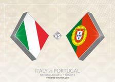 L'Italie contre le Portugal, ligue A, groupe 3 Competitio du football de l'Europe illustration libre de droits