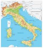 L'Italie a détaillé la carte physique illustration stock