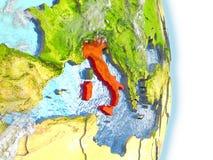 L'Italie en rouge sur terre illustration de vecteur