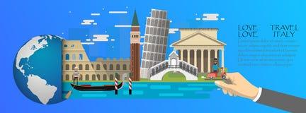 l'Italie infographic, global avec des points de repère de l'Italie, style plat Photographie stock libre de droits