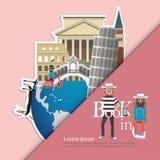 l'Italie infographic, global avec des points de repère de l'Italie, style plat Amour Italie de voyage d'amour Photos libres de droits