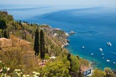 L'Italie, Sicile Paysage marin de Taormina image libre de droits