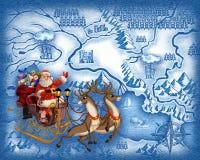 L'itinéraire de Santa Claus illustration stock
