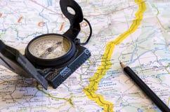 L'itinéraire du voyage Photos libres de droits