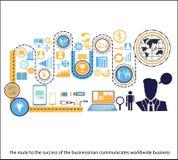 L'itinerario dell'uomo d'affari di vettore comunica la classe del mondo per riesce Immagini Stock Libere da Diritti