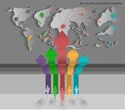 L'itinerario della classe del mondo della concorrenza dell'uomo d'affari di vettore per riesce Fotografia Stock