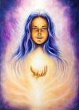 L kvinnagudinna Lada som för olje- målning rymmer ett sourceful av en vit vektor illustrationer