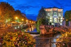 L la Sorgue, Avignon, Frankrike för `-ösur Arkivfoto