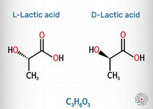 L-Lactic acid and D-Lactic acid, lactate, milk sugar, C3H6O3 molecule. It is chiral, consisting of two enantiomers.  Structural