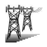 l'?lectricit? Les tours de transmission de courant électrique de la ligne à haute tension illustration de vecteur