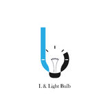 L-letter/alphabet icon and light bulb abstract logo design. Vector template.Corporate business and industrial logotype idea concept.Vector illustration Stock Photo