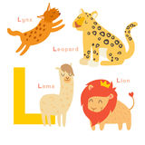 L letter animals set. English alphabet Royalty Free Stock Photography