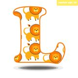 L letter with cartoon style lion pattern. Element for educational programm for children, preschool lessonns, kids book, memo cards. Vector isolated Stock Photos