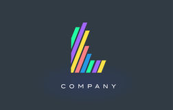 L Letter Logo with Colorful Lines Design Vector. Rainbow Letter. L Letter Logo Design with Colorful Rainbow Lines Vector. Rainbow Letter Icon Illustration Royalty Free Stock Photography