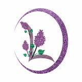 L letter logo with lilac flowers. Sparkling L letter logo with lilac flowers within a purple circular shape stock illustration
