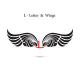 L-letter sign and angel wings.Monogram wing logo mockup.Classic Stock Photos