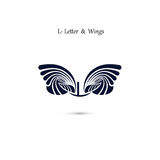 L-letter sign and angel wings.Monogram wing vector logo template Royalty Free Stock Images