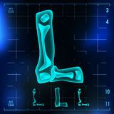 L Letter Vector. Capital Digit. Roentgen X-ray Font Light Sign. Medical Radiology Neon Scan Effect. Alphabet. 3D Blue. Light Digit With Bone. Medical royalty free illustration