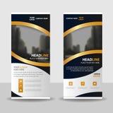 L'élégance d'or enroulent la conception de bannière d'insecte de brochure d'affaires, fond géométrique d'abrégé sur présentation  Photographie stock libre de droits