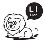 L Lion cartoon and alphabet for children to learning and colorin Stock Photography