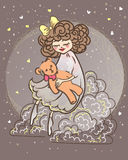 L little sleepy girl  sitting on a cloud and moon Stock Images
