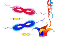 L'élément-carnaval de fête de vecteur masque le purim Photo stock