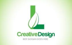 L logo de conception de lettre de feuille de vert Bio icône Illust de lettre de feuille d'Eco illustration stock