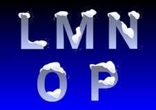 L, M, N, O, p-brieven met sneeuwkappen stock afbeeldingen