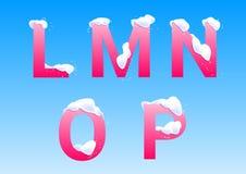 L, M, N, O, p-Buchstaben mit Schneekappen lizenzfreies stockbild