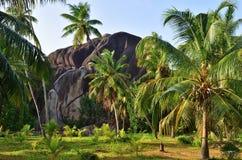 L monumento naturale di Boulder del sindacato del `, La Digue, Seychelles Fotografia Stock