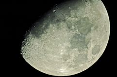 L.A. Moon on November 10, 2005. This shot was taken a few minutes ago at our backyard in Panorama City, California using a Meade ETX-125 EC Telescope with SLR Royalty Free Stock Photo
